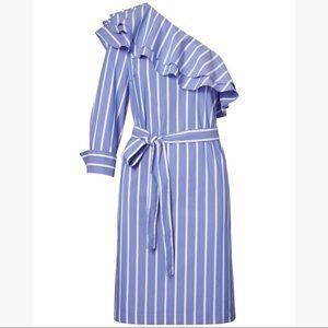 Banana Republic Striped One-Shoulder Ruffle Dress